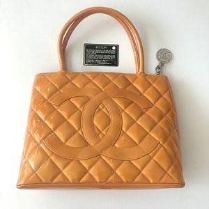 Chanel Medallion Orange Patent Leather Tote
